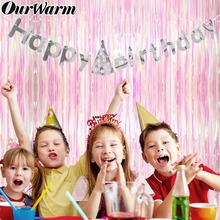 OurWarm 2m/3m Glitter Rose Rain Curtain Backdrop Wedding Birthday Party Background DIY Metallic Foil Baby Shower Decor Boy Girl