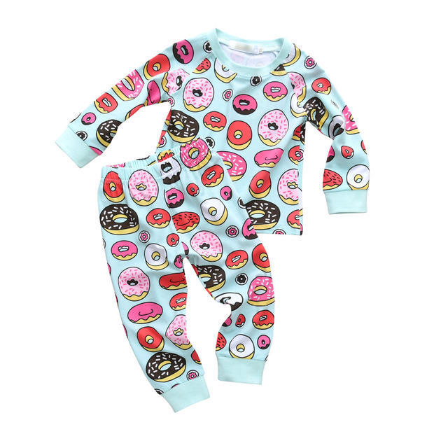 92ab6a060 2Pcs Toddler Kids Boys Girls Donut Print Baby Clothes Set Long Sleeve T-shirt  Casual Pants Outfits Set Children Clothing Suit
