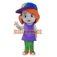 Wholesale Free Shipping Baseball Girl Red Hair Plush Cartoon Character Costume