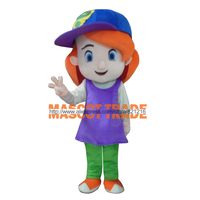 Wholesale Free Shipping Baseball Girl Red Hair Plush Cartoon Character Costume