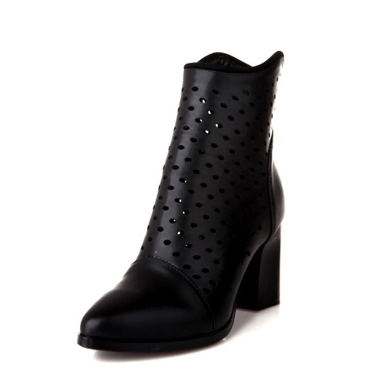 2017 Rei Herbst Mode Plattform Quadratische Einfache Kleid verschluss Ausschnitte Solid BeigeSchwarz Schuhe Frauen Starke Spitz Stiefeletten Ferse ChrtQds