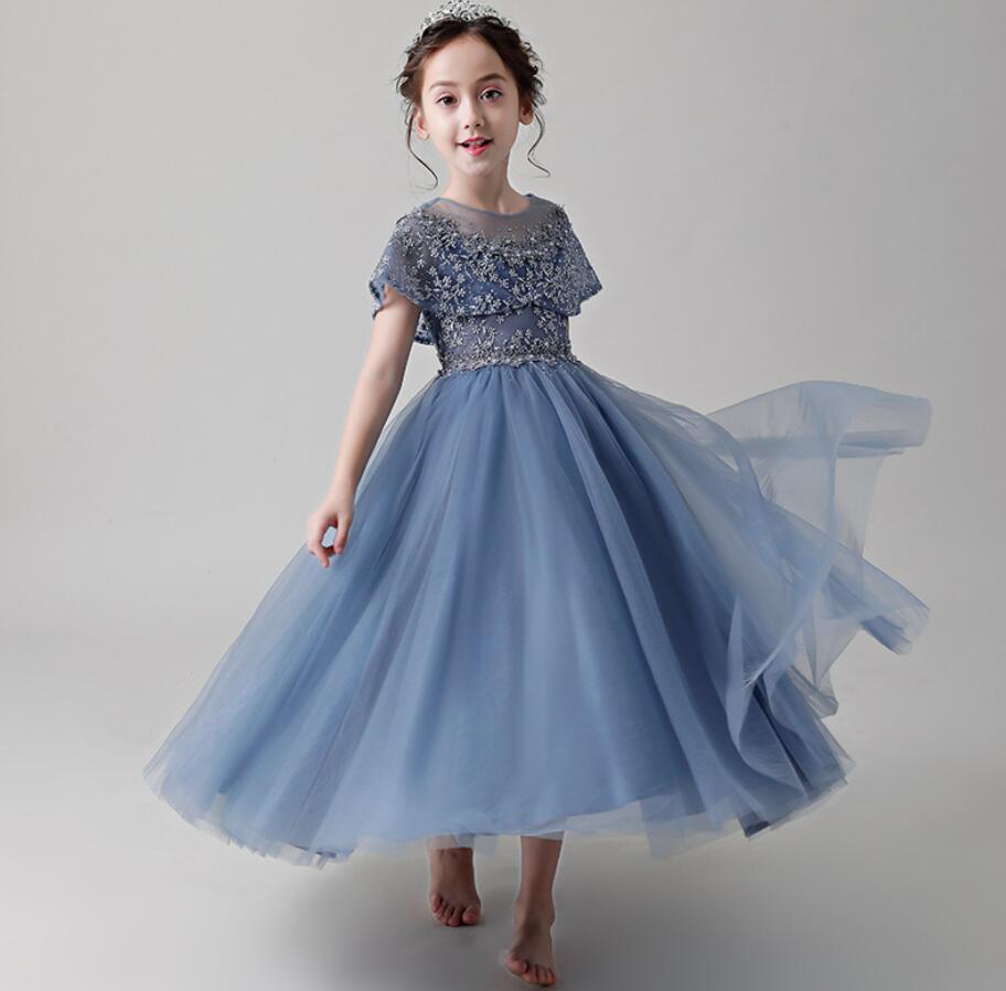 Été bébé filles princesse fête robe de mariée enfants floral sans manches bleu robes enfant en bas âge vêtements pour bébés HW2372