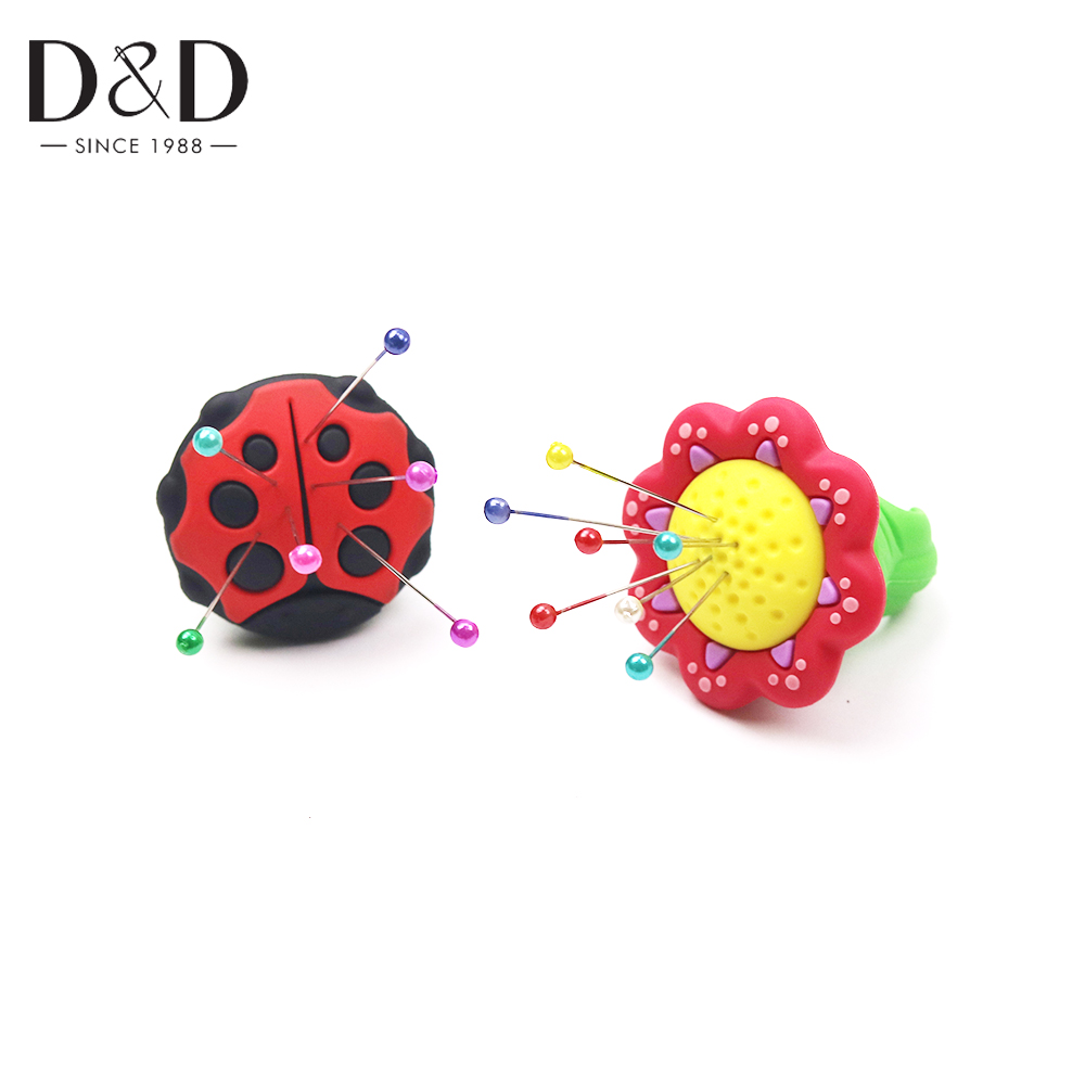 D&D New Silicone 2 Designs Needle Pincushion Ring Safety Sewing Pin Cushions Needle Holder Sewing Tool Accessories