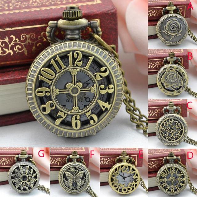 #5001 Nostalgic Punk Style Pocket Watch  Vintage Steampunk Retro Bronze Design Pocket Watch Quartz Pendant Necklace Gift