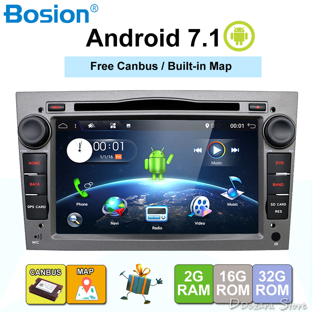 HD 1024*600 Quad Core Android 7.1 Auto registratore GPS DVD Player Per Opel Astra H Vectra corsa zafira B C G supporto OBD2