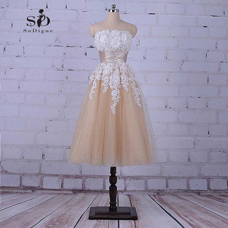 SoDigne Thé Longueur Robes Champagne Haute Qualité Vente Robe De Mariage Pas Cher Robes De Mariée Élégante Avec Délicat Appliques Perles