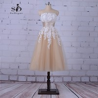 SoDigne Tea Length Dresses Champagne High Quality Sale Wedding Dress Cheap Elegant Wedding Gowns With Delicate