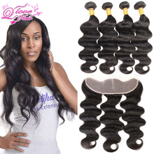 Big Promotion Brazilian Hair Weave Bundles With Closure 13×4 Lace Frontal Closure With 4 Bundles Unprocessed 7a Stema Hair