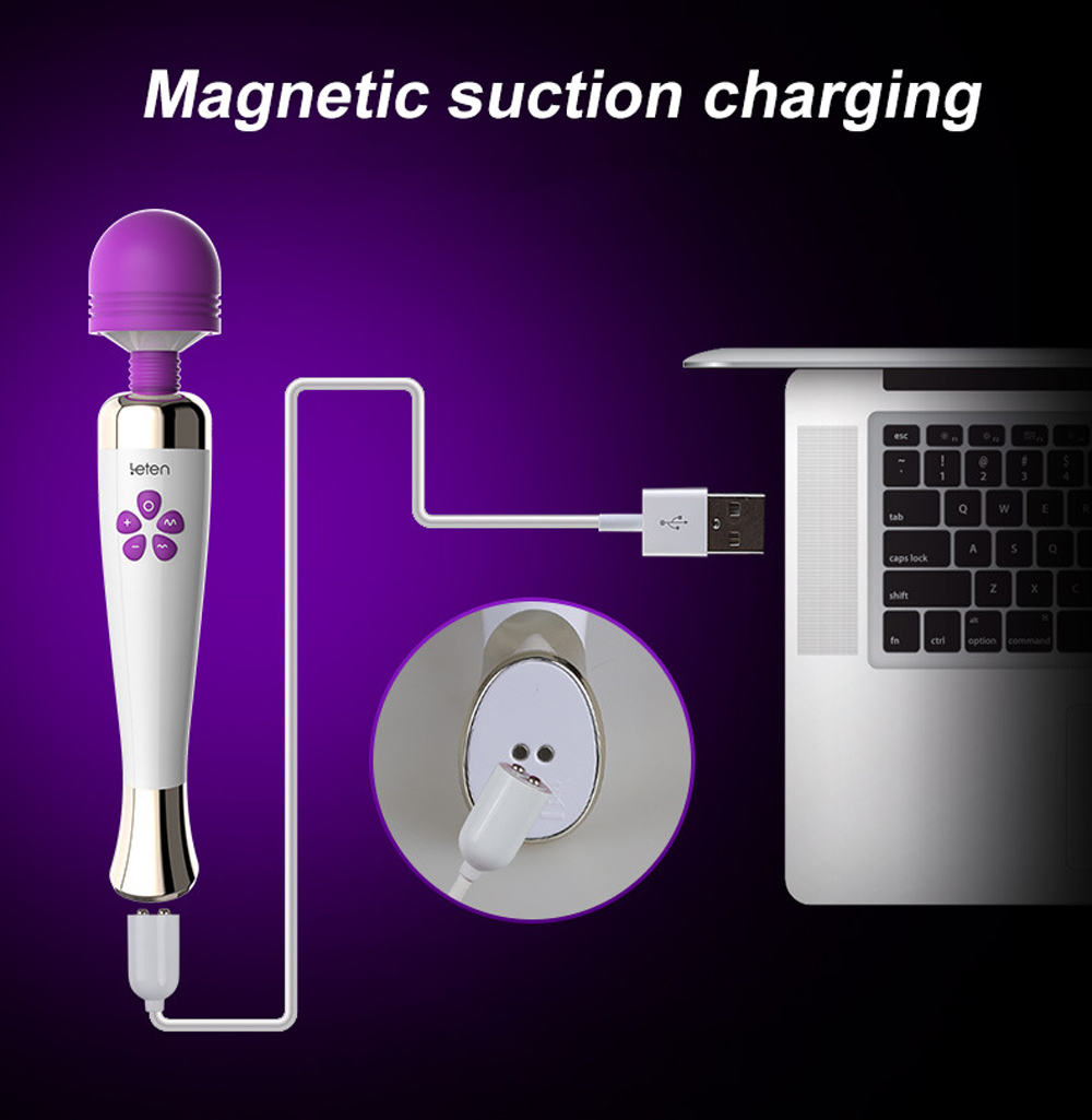 leten Rechargeable Powerful AV Magic Wand Vibrator Massager Silicone G Spot Vibrators For Woman Adult Erotic Toys Sex Products 12