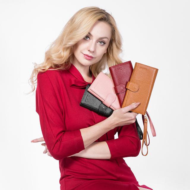 Women's Travel Long Wallet Genuine Leather Zipper Folding With Wristlet Strap
