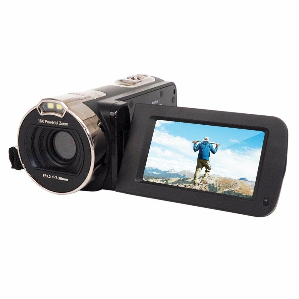 Дюймов 2,7 дюймов вращения экран Цифровая видеокамера Full HD 1080p 16X цифровой зум 24MP портативный дома применение видеокамера