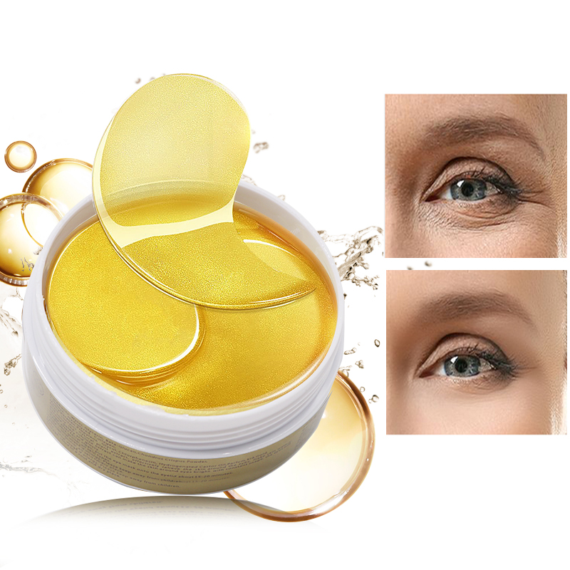 24K Gold Eye Masks 60pcs Collagen Eye Mask Ageless Sleep Mask Hydrogel Eye Patches Pads Dark Circles Moisturizing Face Mask Care
