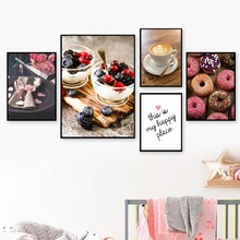 Cake Chocolate Circle Coffee Wall Art Canvas Painting Posters And Prints Pictures For Living Room Baking Shop Decor