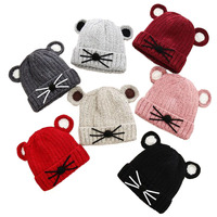Cartoon Cat Baby Winter Hat With Ears Plush Lining Warm Girls Beanie Baby Boy Cap For