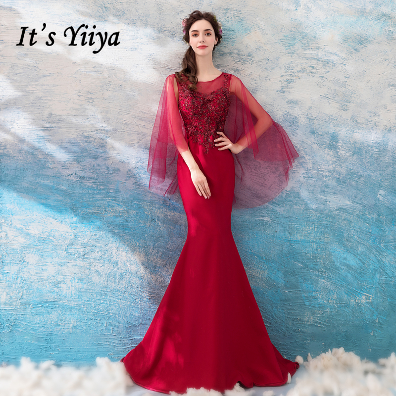 It s YiiYa Wine Red Evening Dresses Mermaid Bling Sequins Sleevless Party  Formal Dress Trumpet Wrap O-neck Illusion Zipper LX822 b7489b0fedcb