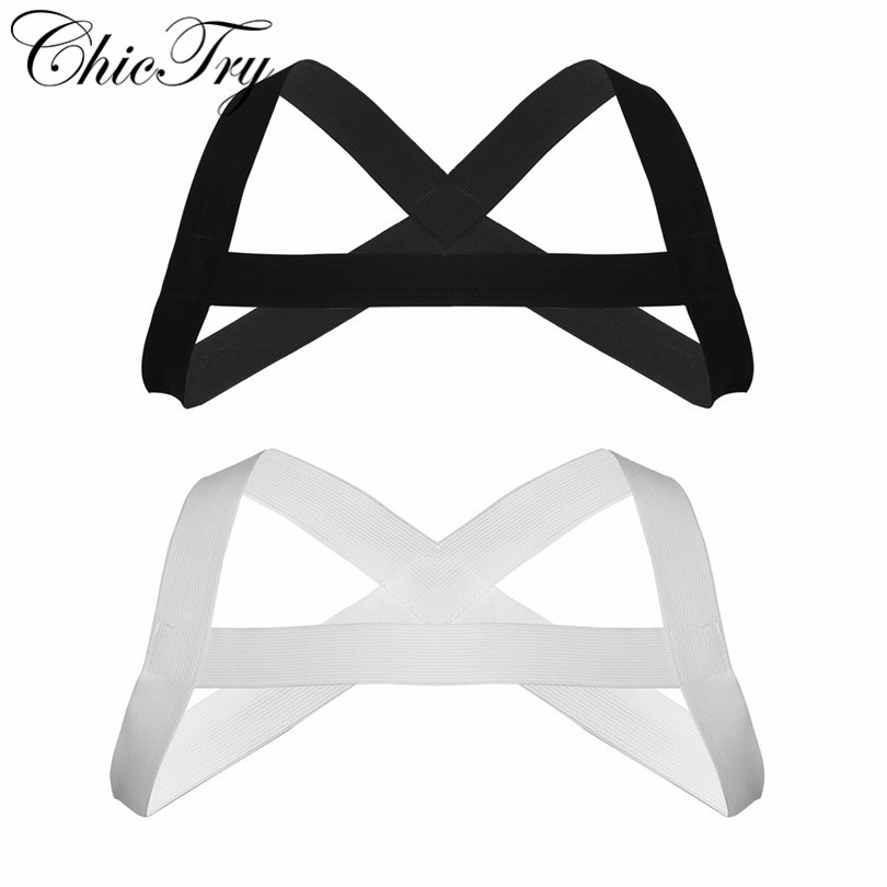 Sexy Male Mens Body Chest Harness X-Shape Back Elastic Shoulder Chest Muscle Harness Belt Punk Costume Strap for Cosplay Party