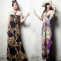 Free Shipping Ladies Fashion Psychedelic Beading Print Dress
