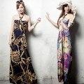 Señoras libres del Envío Forman Rebordear Vestido Estampado Psicodélico