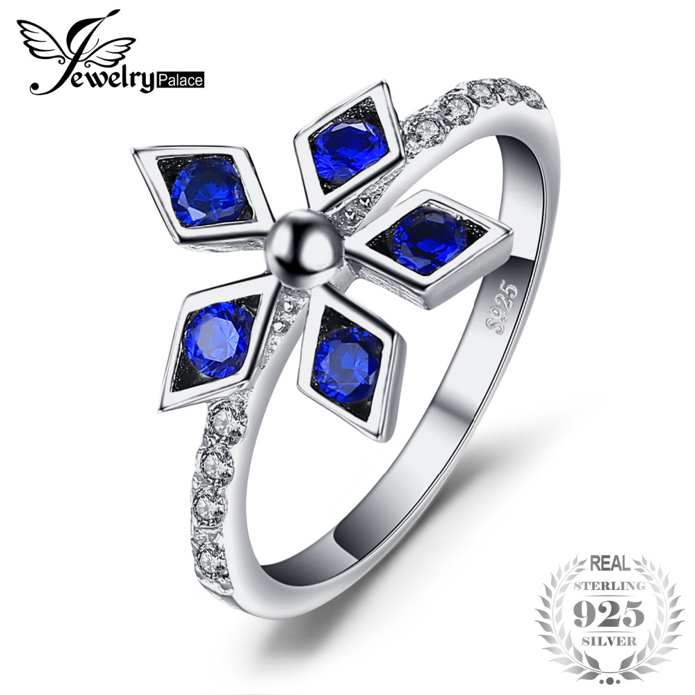 JewelryPalace Fashion 0.54ct Created Blue Spinel CZ Flower Stackable Ring For Lovers Charms S925 Sterling Silver Fine Jewelry