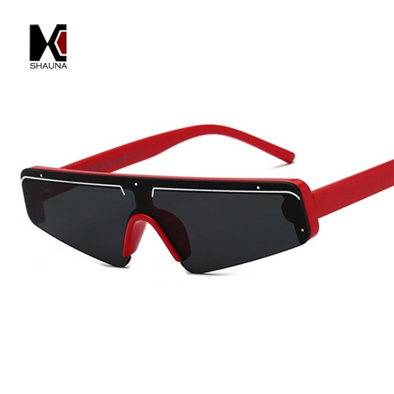 SHAUNA Mode Flache Top Halb Rahmen Sonnenbrille Frauen Retro Streifen Männer Shades randlose UV400