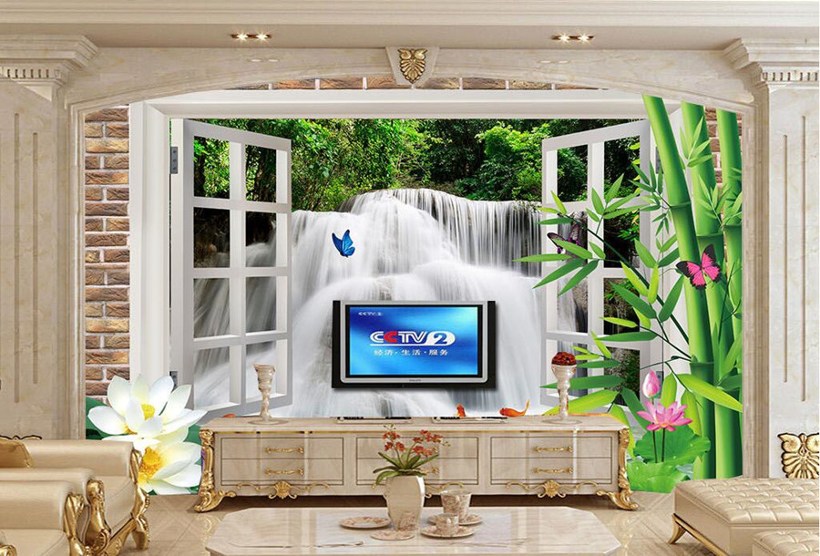 Large murals,Creative stereoscopic windows outdoor waterfall 3D Wallpaper,living room sofa TV wall bedroom modern wallpaper custom large murals bar retro fashion flag sticker wallpaper coffee shop restaurant dinig room tv sofa wall bedroom 3d wallpaper
