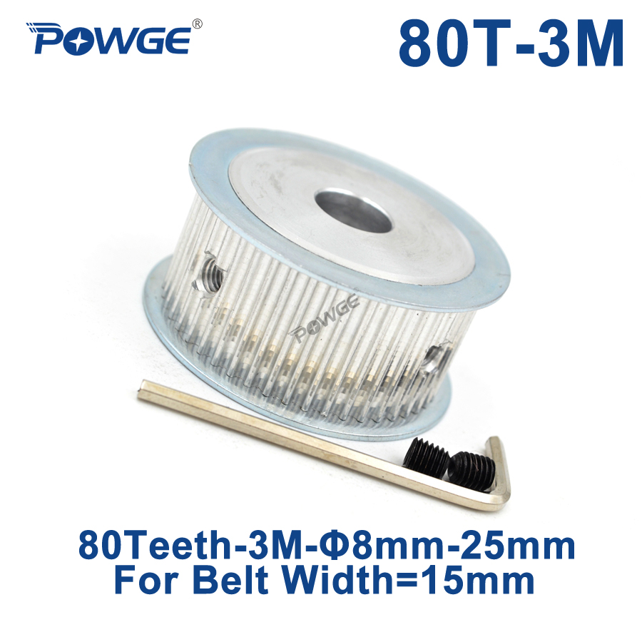 POWGE 80 Teeth HTD 3M Synchronous Timing Pulley Bore 8/10/12/14/16/17/19/20/25mm for Width 15mm HTD3M Belt Wheel 80T 80Teeth все цены