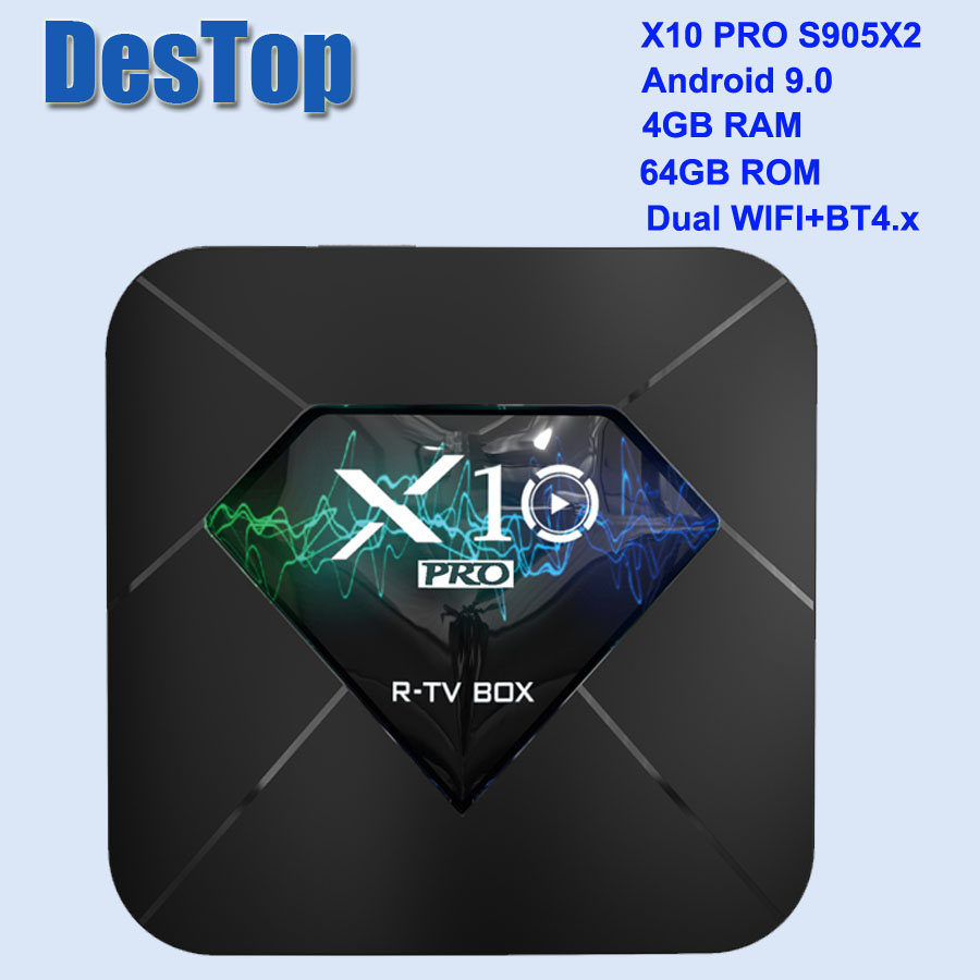 X10 Pro Android 9,0 caja de TV inteligente S905X2 4GB DDR3 32GB 64GB 2,4G 5GHz Wifi apoyo USB3.0 BT4.0 4K 3D Netflix reproductor de televisión Android TV-in Decodificadores from Productos electrónicos    1