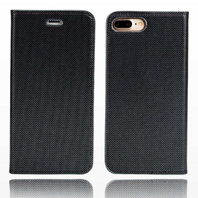 Wangcangli marque coque de téléphone en cuir double lignes de couverture de téléphone flip pour iPhone 7 Plus fait à la main coque de téléphone