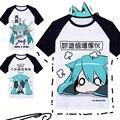 T-shirt Traje Cosplay VOCALOID Hatsune Miku Anime Camiseta Camiseta de Algodão para Homens/Mulheres