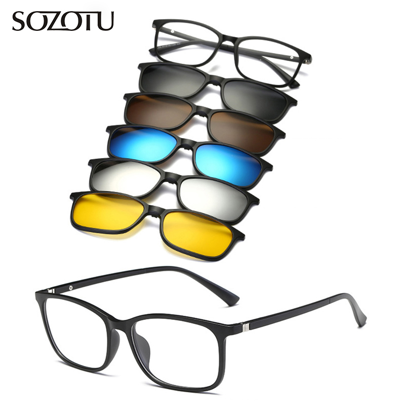 Optical Eyeglasses Frame Men Women With 5 Clip On Magnets Polarized Sunglasses Myopia  Glasses Spectacle Frame For Male YQ330