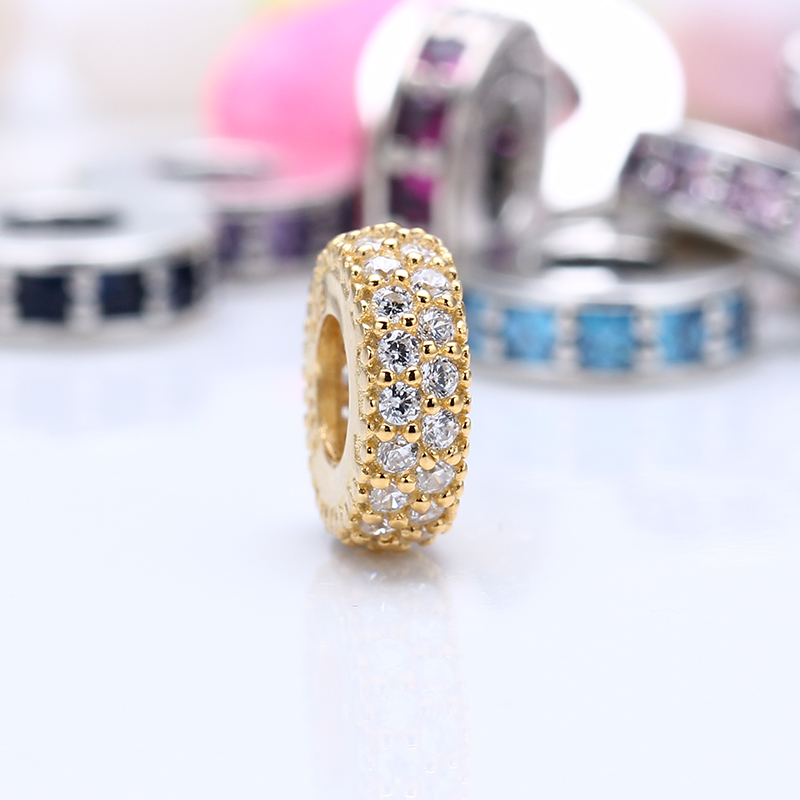 High Quality 100% 925 Sterling Silver Charms Fit Original Pandora Bracelet Abstract gold spacer Charms Beads for Jewelry Making