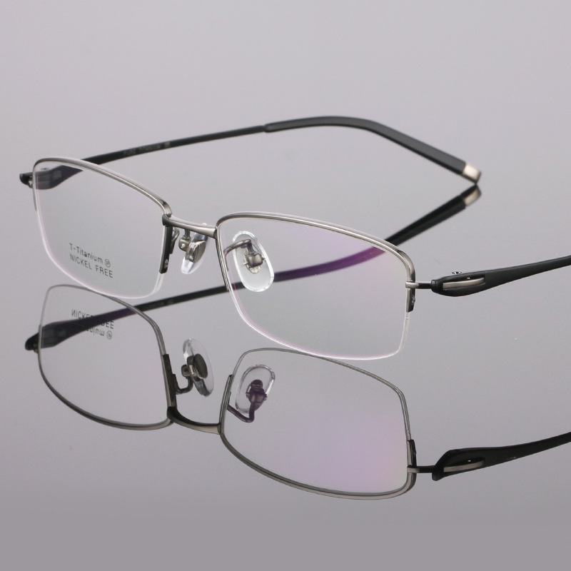 5a3d2fafab6e 2019 Semi Rimless Design Glasses Frame For Men Quality Titanium Glasses  Gafas Square Myopia Eyewear oculos de grau masculino-in Men's Eyewear Frames  from ...