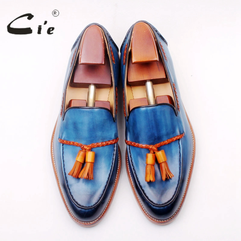 Ci'e cuir de veau pleine fleur sur mesure goodyear welted mélangé bleu/marron glands faits à la main sans lacet hommes chaussure bateau mocassin 166 3