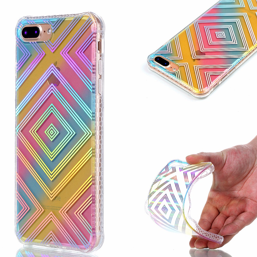 QuShar Glossy Plating Phone Case for iphone 7 plus Changing Color Case Blu-Ray TPU Cover for Apple iphone7 7P Glitter Back Cover