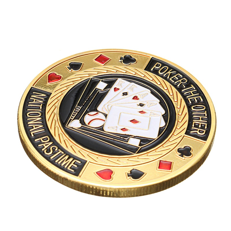 Metal Poker Chip Guard Card Protector Coin Pair Of Aces Gold Plated With Round Plastic Case Metal Craft Poker Chips Poker Game Making Things Convenient For Customers Entertainment Back To Search Resultssports & Entertainment