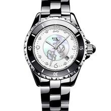 Burei uhren damen quarzuhr armband armbanduhren schwarz keramik armband damenuhr mit geschenk-box reloj mujer