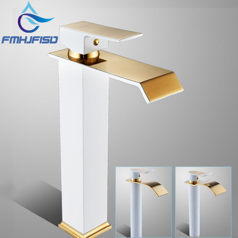 Bathroom Basin Faucet Deck Mounted Sink Faucet Brass Material Golden Plated White Mixer Taps yongnuo yn128 yn 128 camera photo studio phone video 128 led ring light 3200k 5500k photography dimmable ring lamp