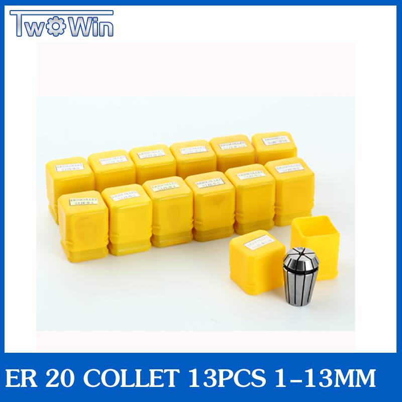 ER20 collet set (1-13mm) er20 collet chuck Spring Collet chuck for CNC Milling Lathe Tool and spindle motor Top standard quality