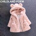 Los Bebés ropa del invierno Faux Fur Fleece Capa de las muchachas de Partido niñas Chaqueta Caliente 1-5Y Navidad Traje Para La Nieve Bebé prendas de Vestir Exteriores de Los Niños Ropa