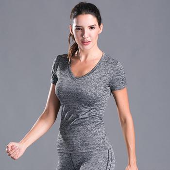 Do biegania damskie koszulki z krótkim rękawem siłownia Sport Fitness tshirt kobiety szybkie suche koszulki z dekoltem w serek koszule damskie koszulki damskie topy koszulki szkolenia tanie i dobre opinie Poliester WOMEN Lato Wiosna AUTUMN Winter psvteide Pasuje mniejszy niż zwykle proszę sprawdzić ten sklep jest dobór informacji