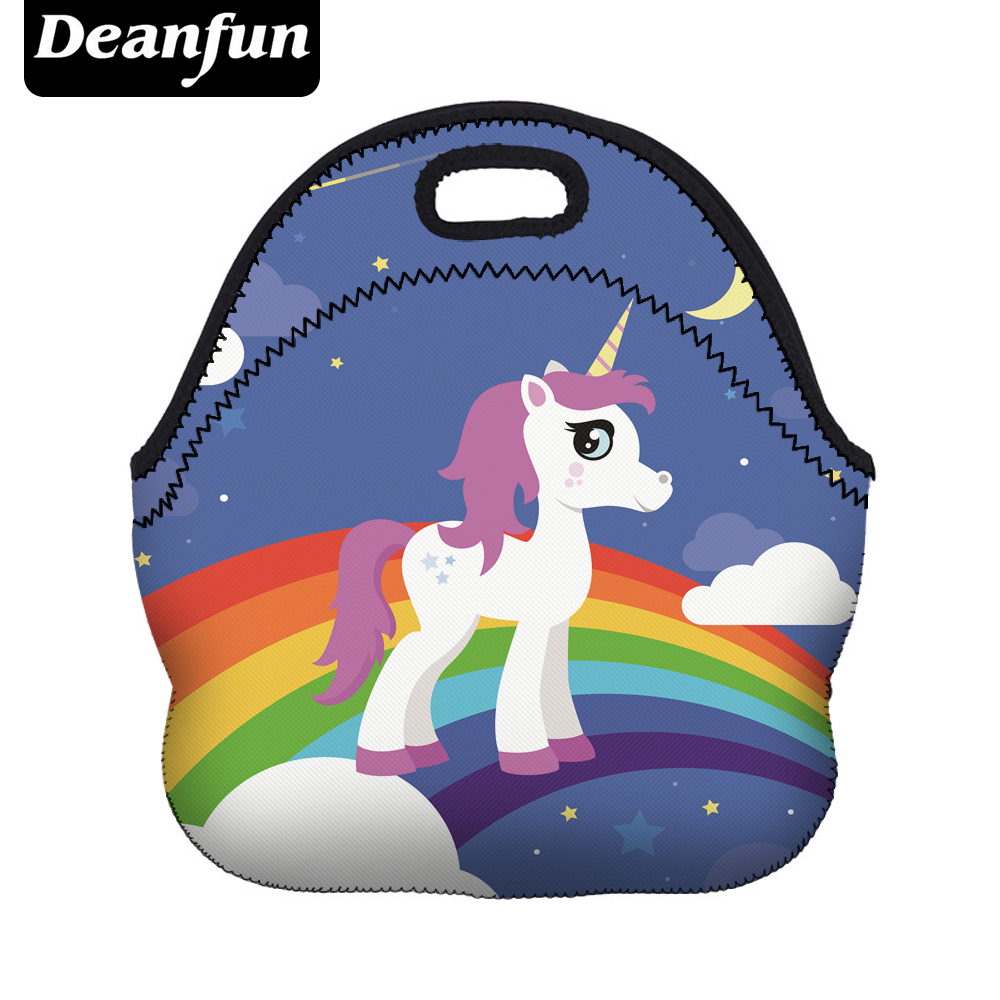 Deanfun Cute Lunch Bags 3D Printed Rinbow Unicorn Neoprene with Zipper Portable for Kid Picnic 73008 все цены