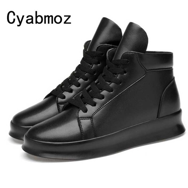 men leisure shoes split leather invisible height increasing 7cm 5cm casual shoes fashion high top boots lace up sneakers shoes