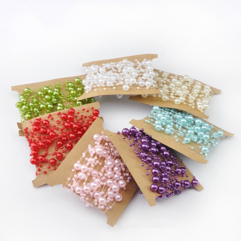 5 м красочные искусственного Пластик Перл Строка Гирлянда Свадебные Бусины Букеты Свадебные цветы Декор