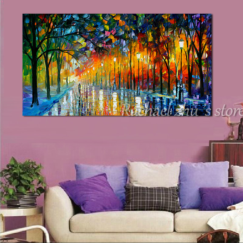 Large Size Hand Painted Abstract Night Lamp Road Landscape Oil ...