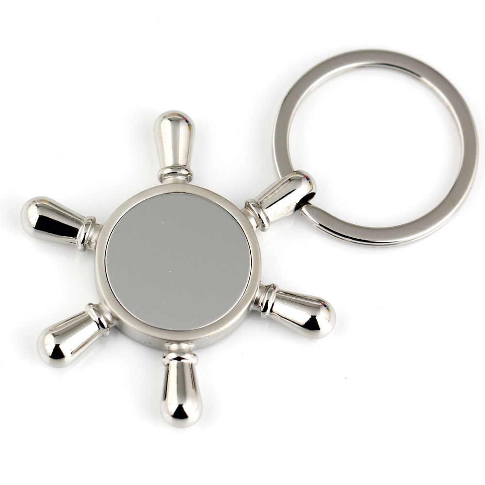 Nave timón llavero de moda de plata pulida de efecto espejo clave cadena anillo llavero 86022