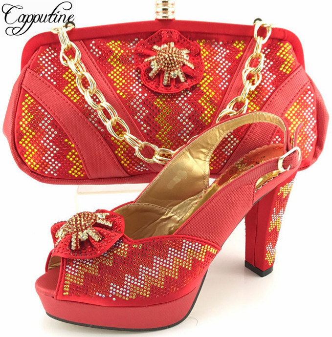 Capputine Latest African Woman Red Color font b Shoes b font And Matching Bags Set Italian
