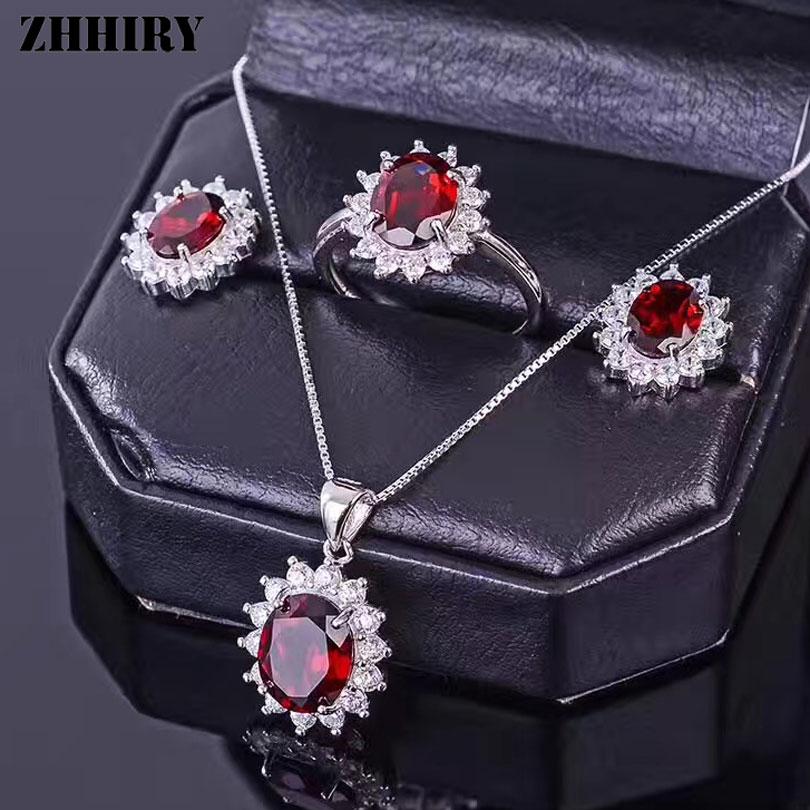 ZHHIRY Women Jewelry Sets Natural Garnet Gemstone Genuine 925 Sterling Silver Set Ring Earring Pendant Chain Fine Jewelry недорого