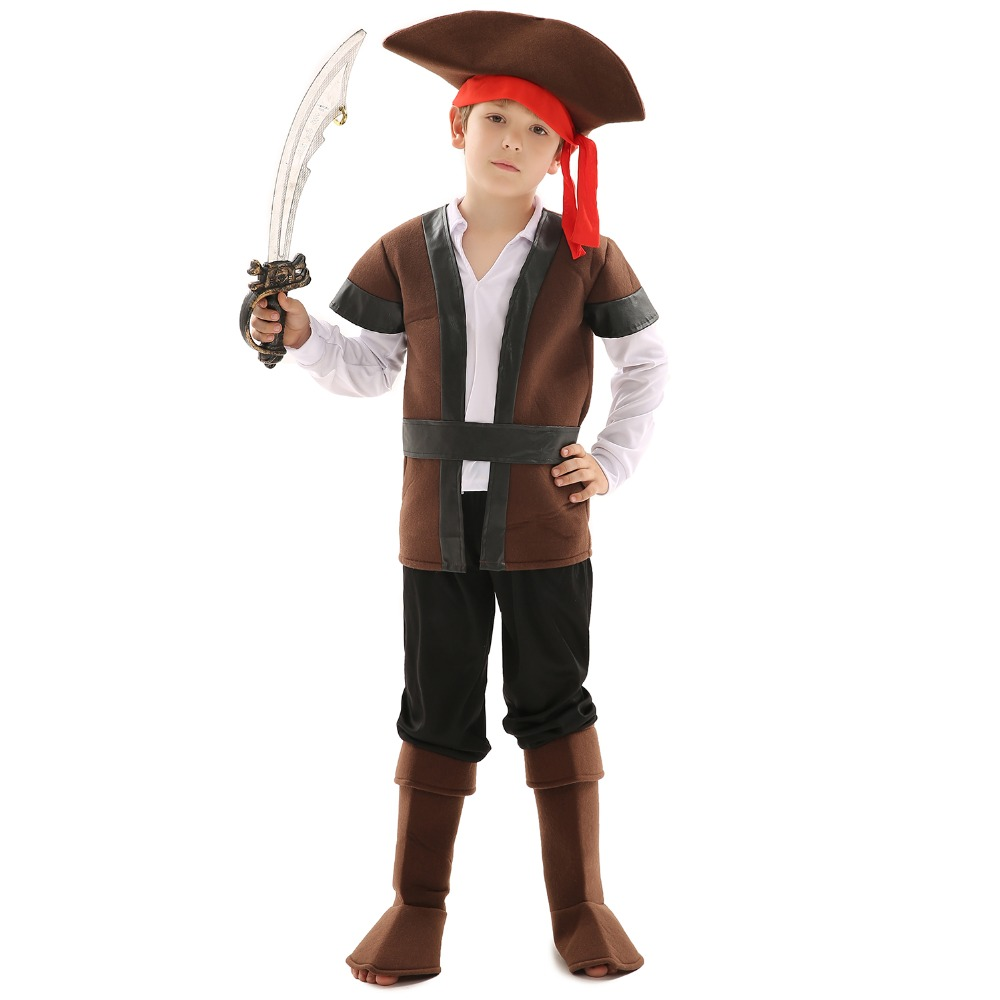Kids Role-Play Personalized Pirates Cosplay Costume For Theme Party Captain Jack Dress or Carnival with Hat+Accessories
