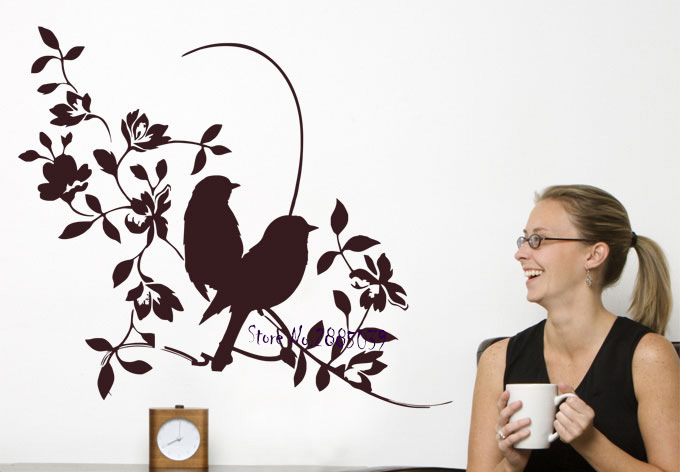 Flower with Sparrows Wall Decal Living Room Bedroom Home Decor High Quality Mural DIY Removable Vinyl Art Office Stickers LA208