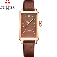 JULIUS Luxury Gold Women Watches Small Vintage Gold Quartz Ladies Watch Brand Girl Dress Clock Leather